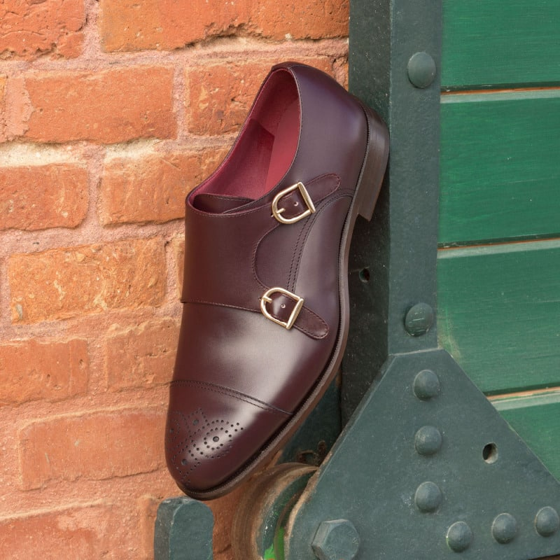 Damon Burgundy Toe Cap Double Monk Strap