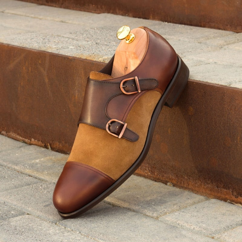 Arlo Tan Leather & Suede Double Monk Strap