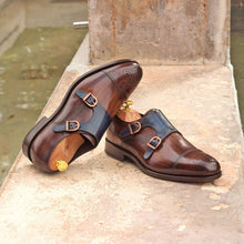 Load image into Gallery viewer, Astrid Tan & Blue Patina Double Monk Strap
