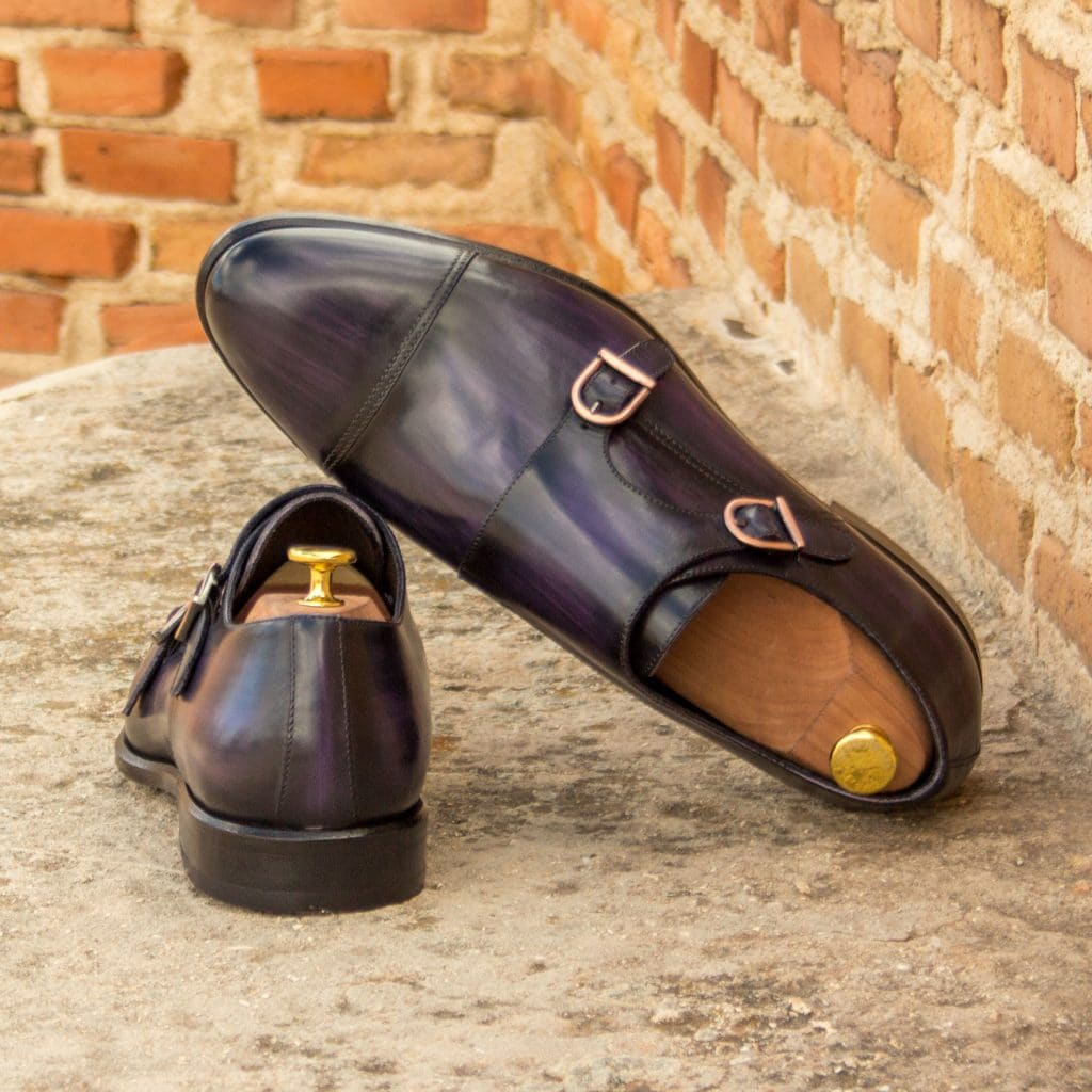 Purple Patina Finish Leather Formal Double Monk Strap Buckle Shoes for Men with Leather Sole. Goodyear Welted Construction Available.