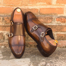 Load image into Gallery viewer, Tan Brown Patina Finish Leather Formal Toe Cap Brogue Double Monk Strap Buckle Shoes for Men with Leather Sole. Goodyear Welted Construction Available.