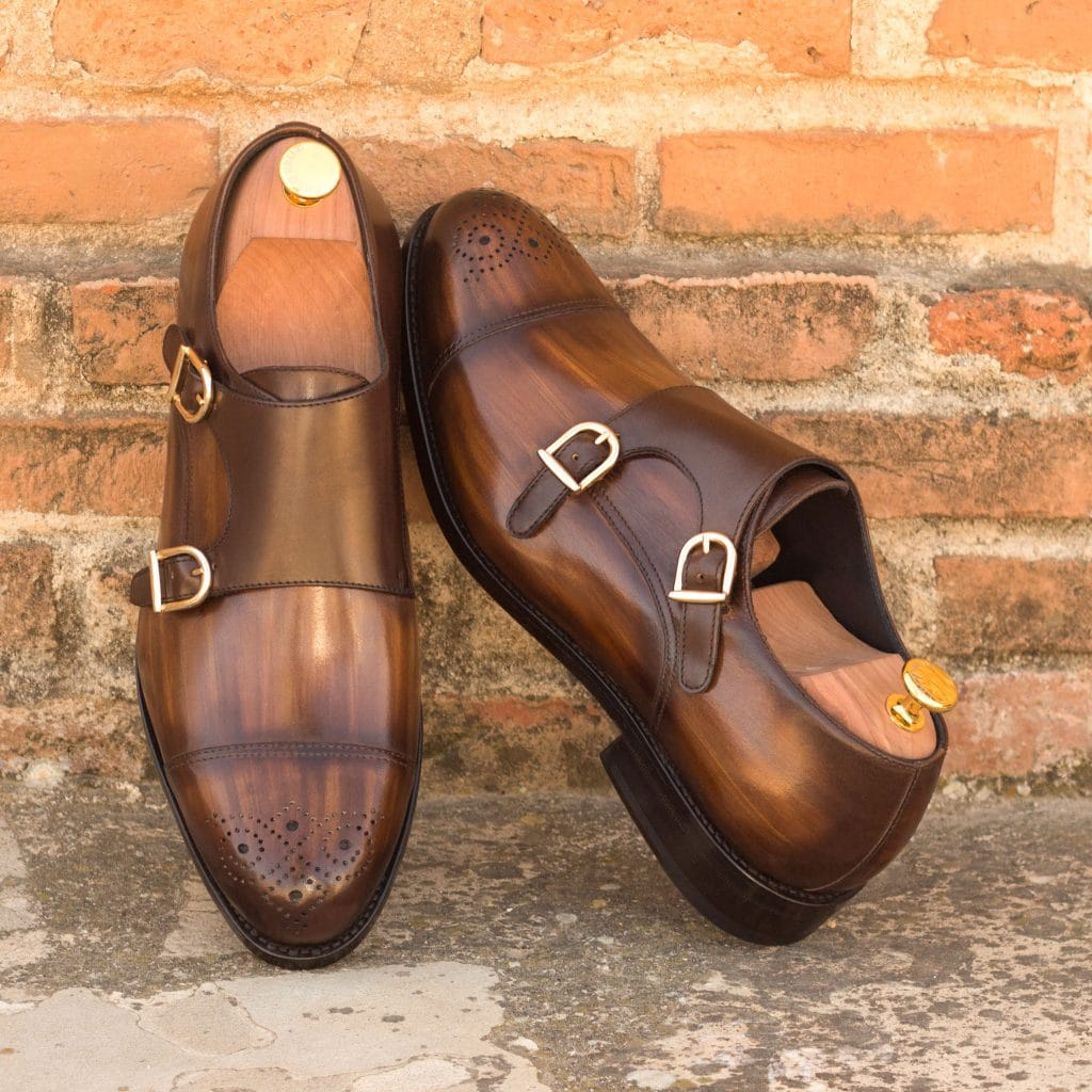 Tan Brown Patina Finish Leather Formal Toe Cap Brogue Double Monk Strap Buckle Shoes for Men with Leather Sole. Goodyear Welted Construction Available.