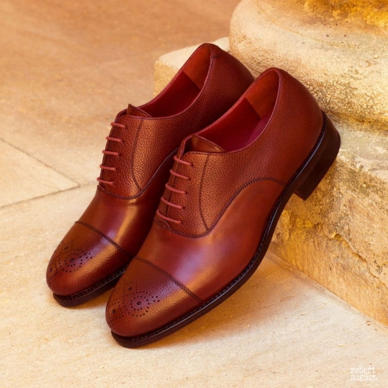 William Burgundy Pebble Grain Toe Cap Oxford