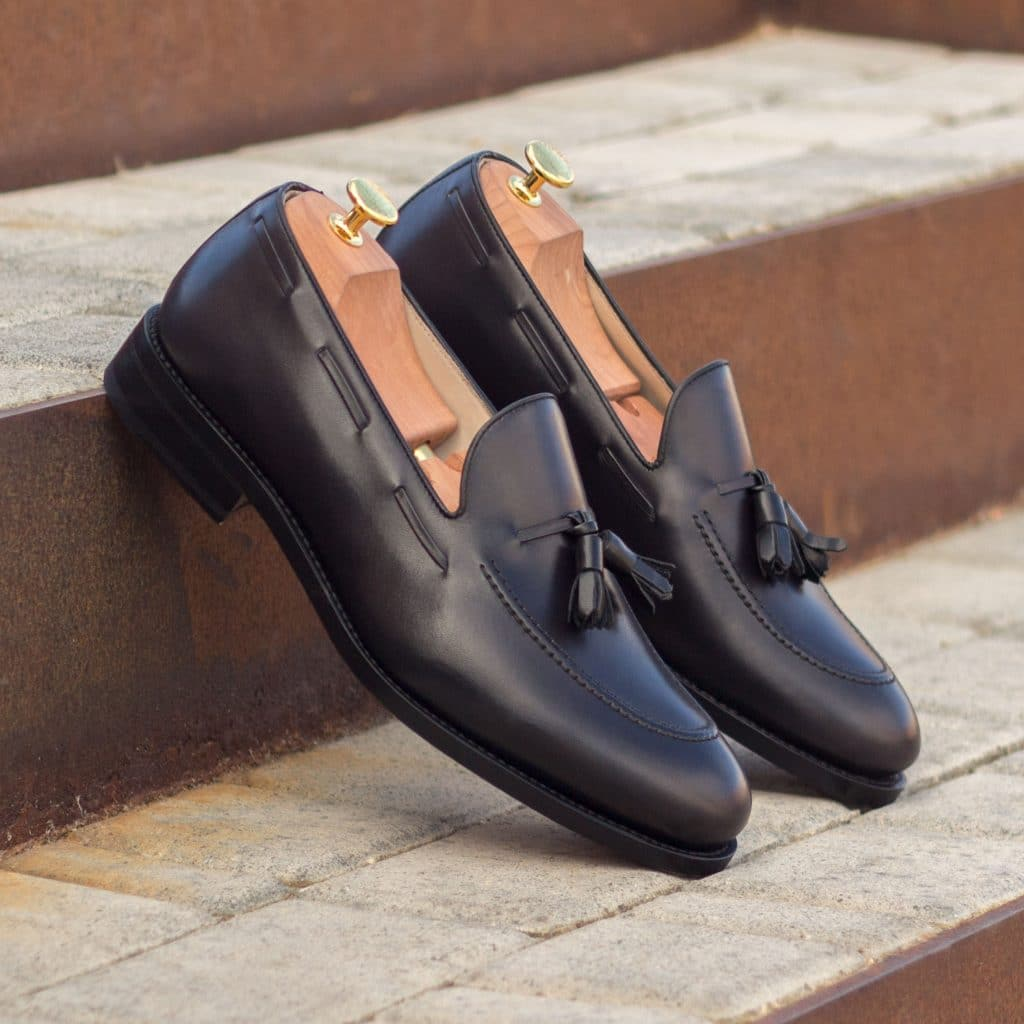 Black Leather Formal Tassel Loafer Slip On Shoes for Men with Leather Sole. Goodyear Welted Construction Available.