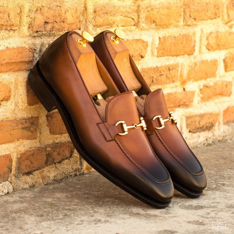 Caleb Brown Burnished Horsebit Loafer