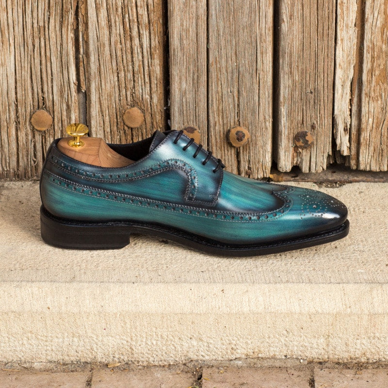 Ocean Blue Hand Painted Patina Finish Derby