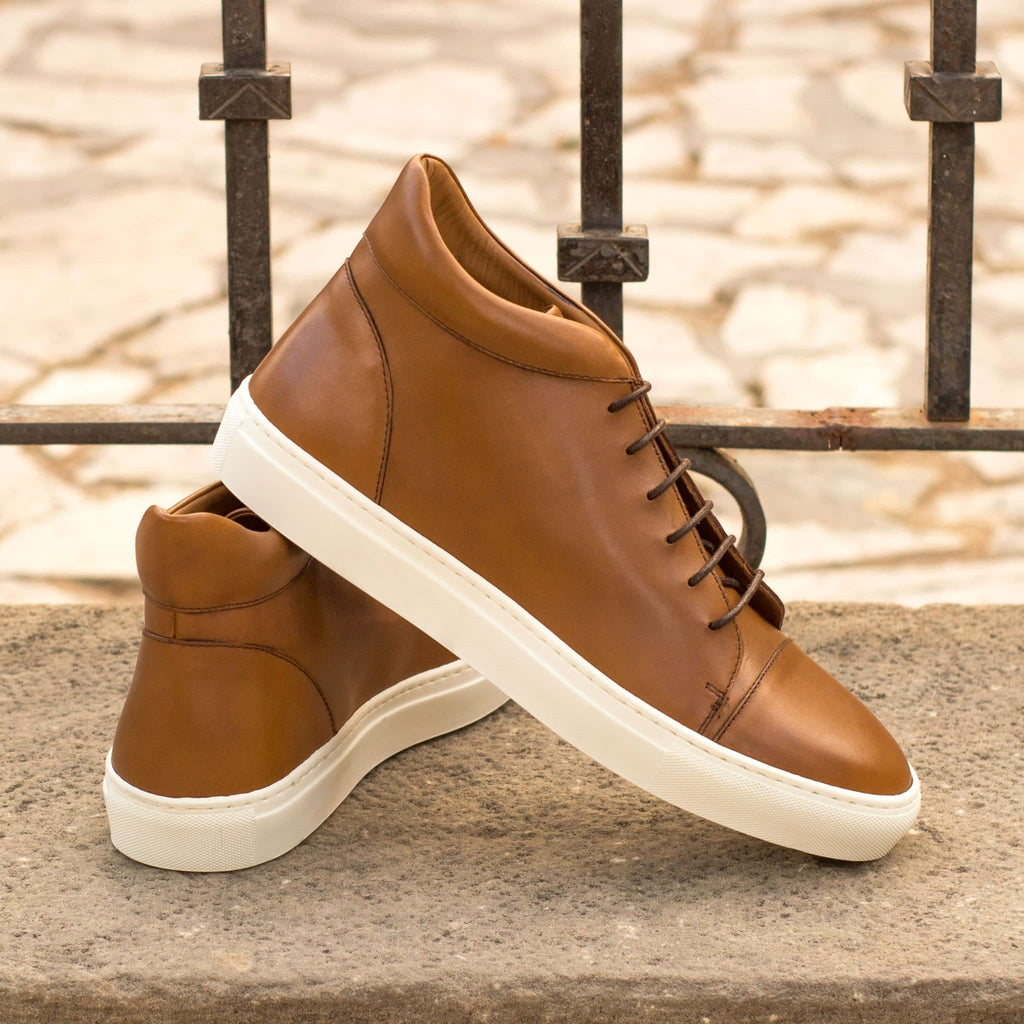 Tan Leather Lace Up High Top Sneaker for Men. White Comfortable Cup Sole.