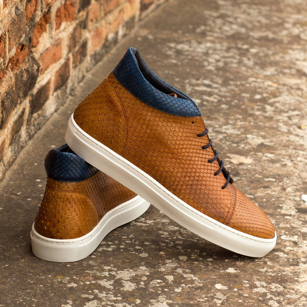 Tan Navy Blue Python Snake Print Leather Lace Up High Top Sneaker for Men. White Comfortable Cup Sole.