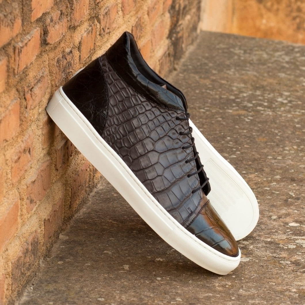 Black Grey Croco Print Leather Lace Up High Top Sneaker for Men. White Comfortable Cup Sole.