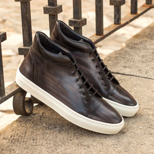 Grey Patina Finish Leather Lace Up High Top Sneaker for Men. White Comfortable Cup Sole.