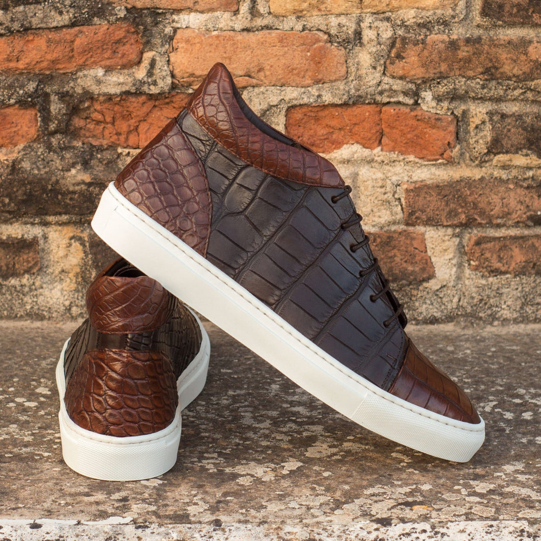 Dark Brown Croco Print Leather Lace Up High Top Sneaker for Men. White Comfortable Cup Sole.