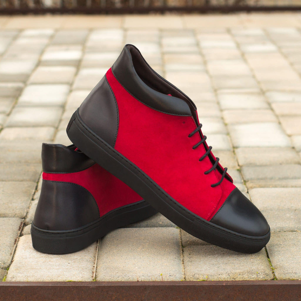 Black & Red Suede Leather Lace Up High Top Sneaker for Men. Black Comfortable Cup Sole.
