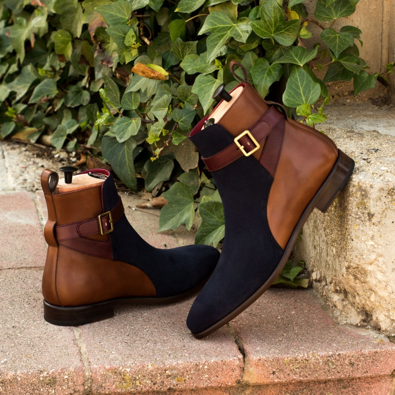 Lucas Brown Leather & Navy Blue Suede Jodhpur Boot