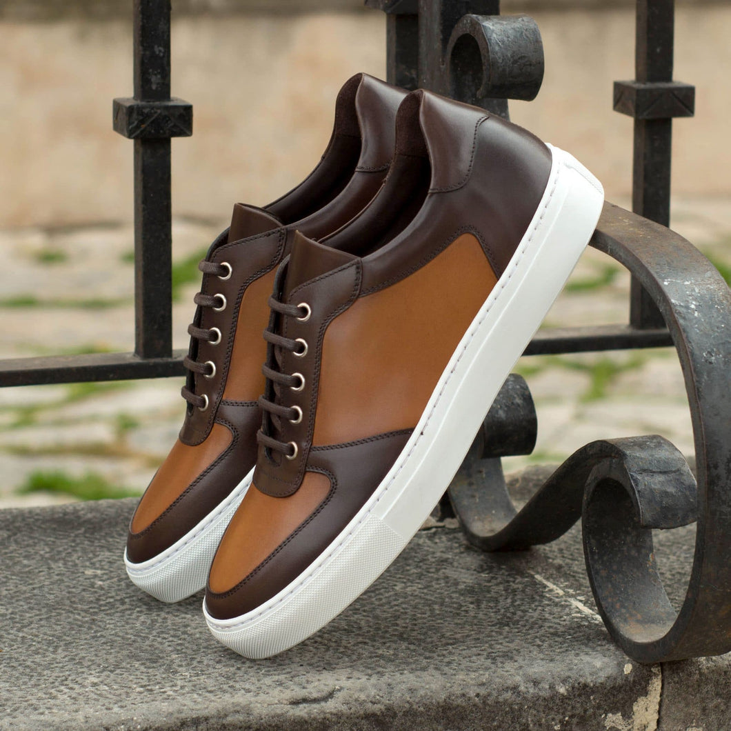 Tan and Brown Leather Low Top Lace Up Sneaker for Men. White Comfortable Cup Sole.