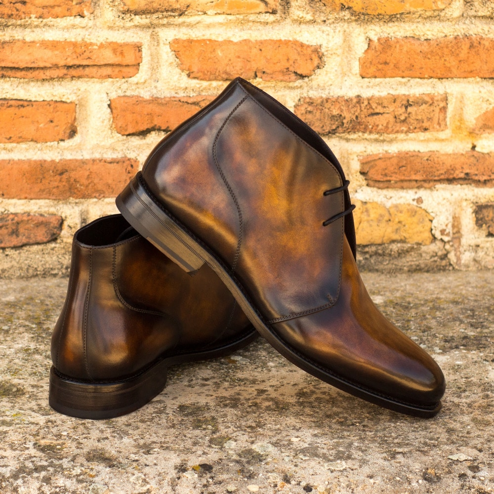 Theodore Tan Hand Patina Goodyear Welted Chukka Boot