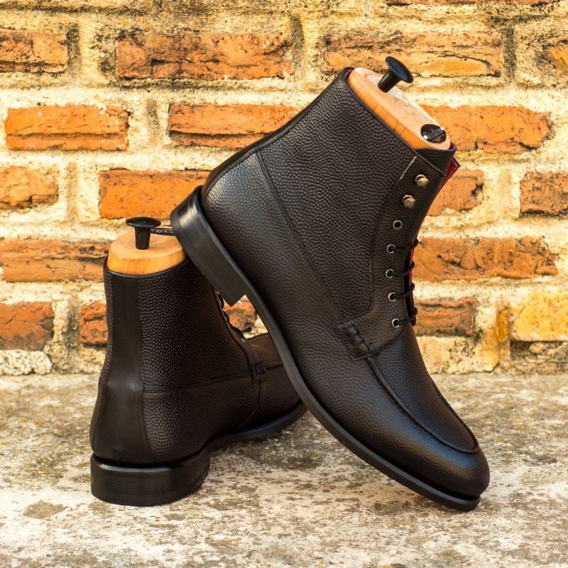 Grendel Black Pebble Grain Leather Lace Up Boot