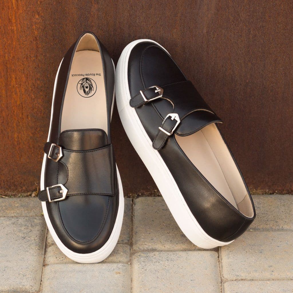 Black Leather Slip On Monk Strap Sneaker for Men. White Comfortable Cup Sole.