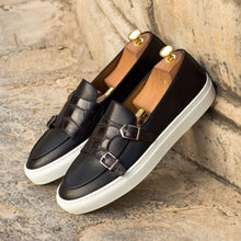 Load image into Gallery viewer, Black Croco Print Leather Slip On Monk Strap Sneaker for Men. White Comfortable Cup Sole.