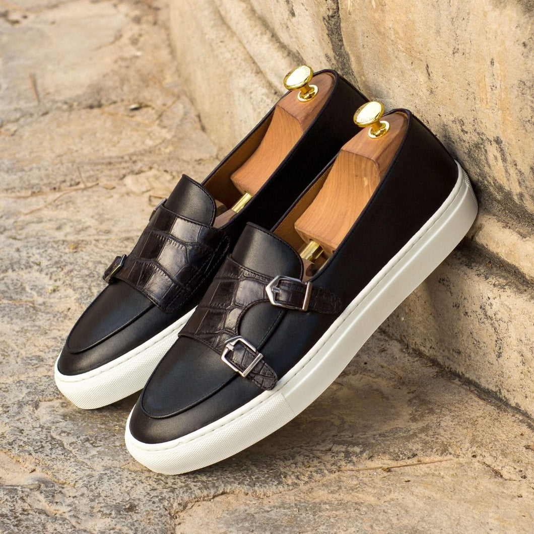 Black Croco Print Leather Slip On Monk Strap Sneaker for Men. White Comfortable Cup Sole.