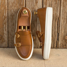 Load image into Gallery viewer, Tan Leather Slip On Monk Strap Sneaker for Men. White Comfortable Cup Sole.