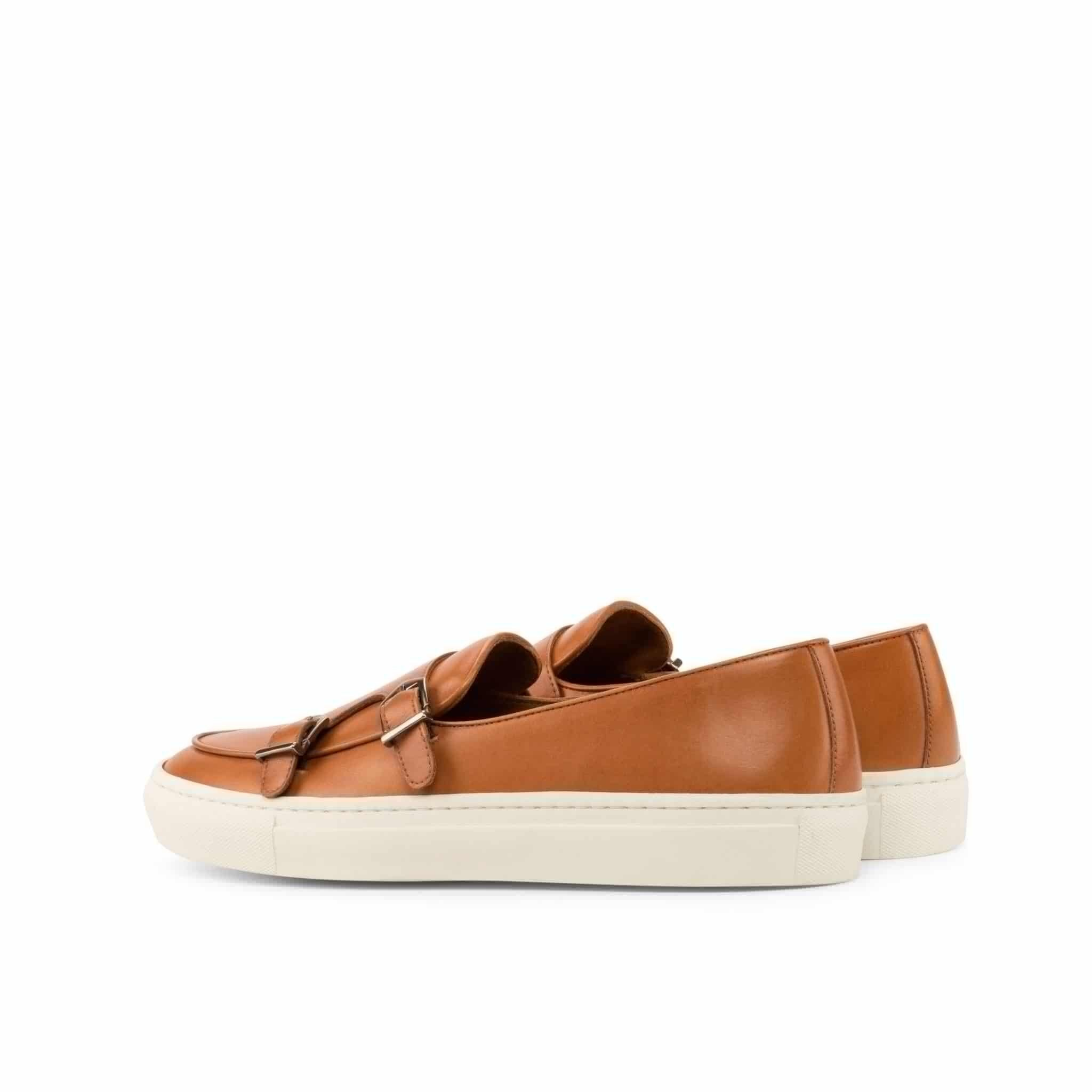 Tan Leather Slip On Monk Strap Sneaker for Men. White Comfortable Cup Sole.