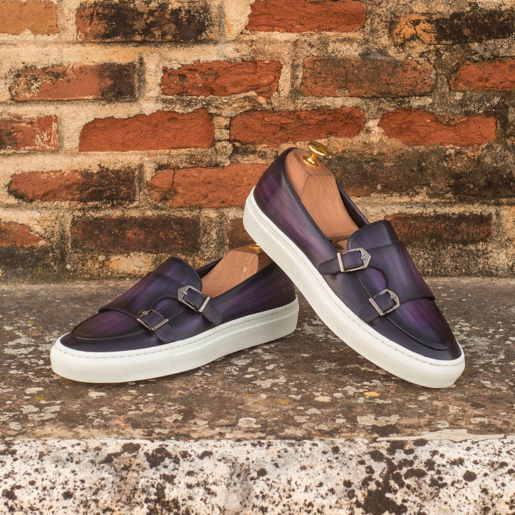 Purple Patina Finish Leather Slip On Monk Strap Sneaker for Men. White Comfortable Cup Sole.