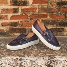 Load image into Gallery viewer, Purple Patina Finish Leather Slip On Monk Strap Sneaker for Men. White Comfortable Cup Sole.