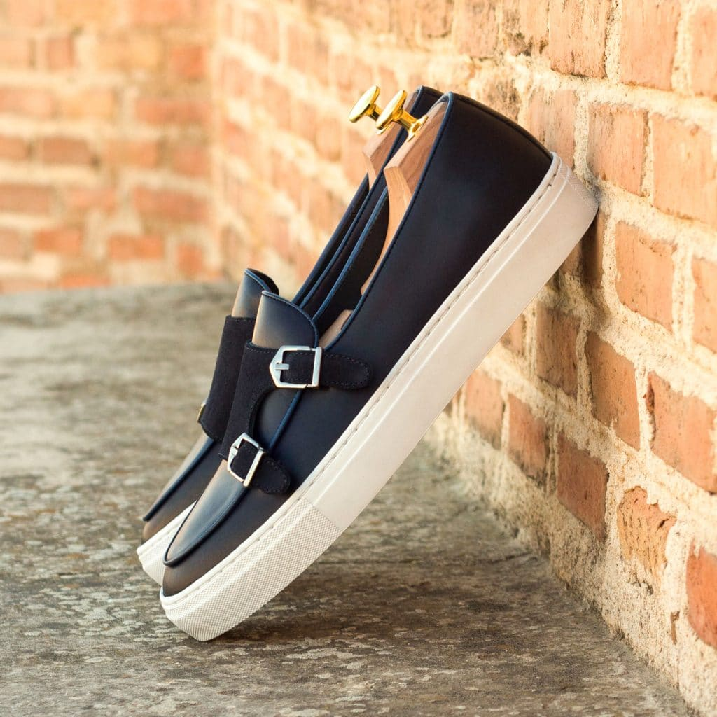 Navy Blue Suede & Leather Slip On Monk Strap Sneaker for Men. White Comfortable Cup Sole.