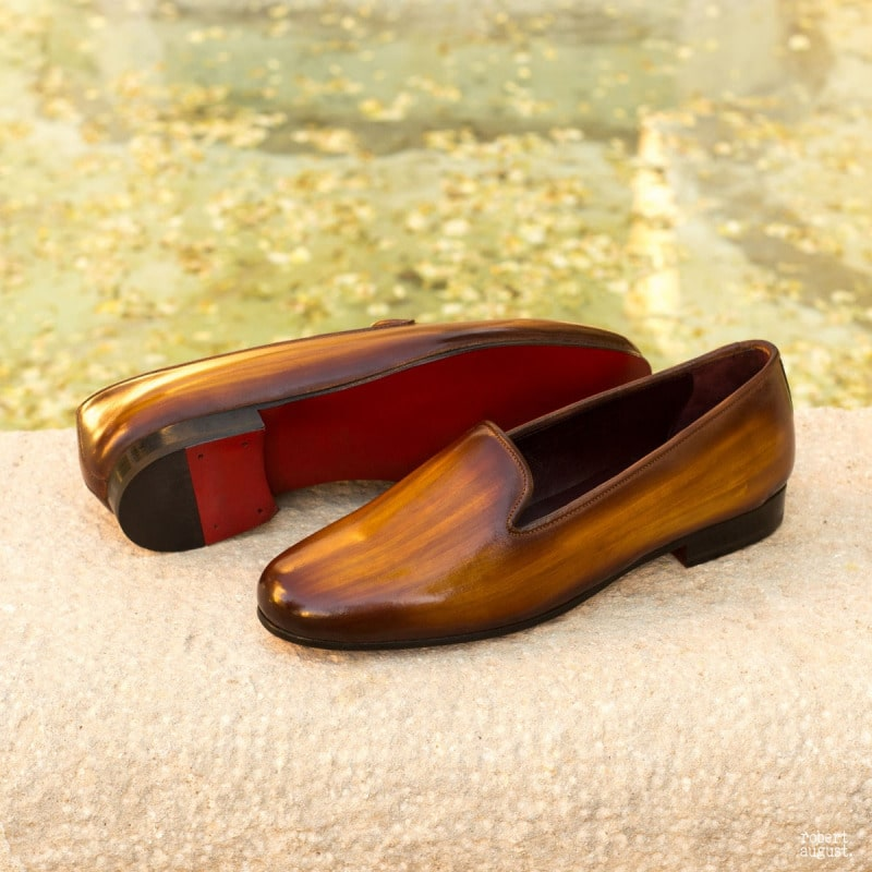 Mia Tan Patina Finish Belgian Loafer for Women