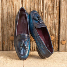 Load image into Gallery viewer, Amelia Navy Blue Patina Finish Belgian Tassel Loafer for Women