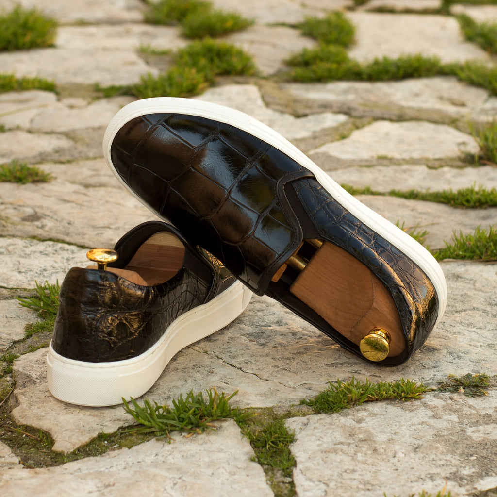 Black Croco Print Leather Slip On Loafer Sneaker for Men. White Comfortable Cup Sole.