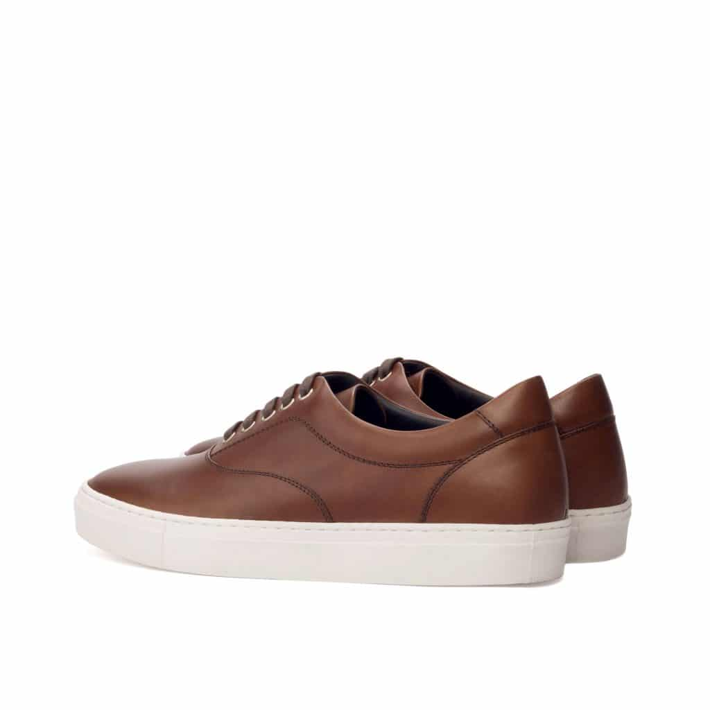 Brown Leather Low Top Lace Up Sneaker for Men. White Comfortable Cup Sole.