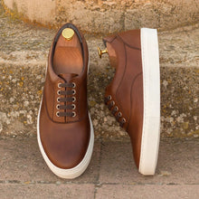 Load image into Gallery viewer, Brown Leather Low Top Lace Up Sneaker for Men. White Comfortable Cup Sole.