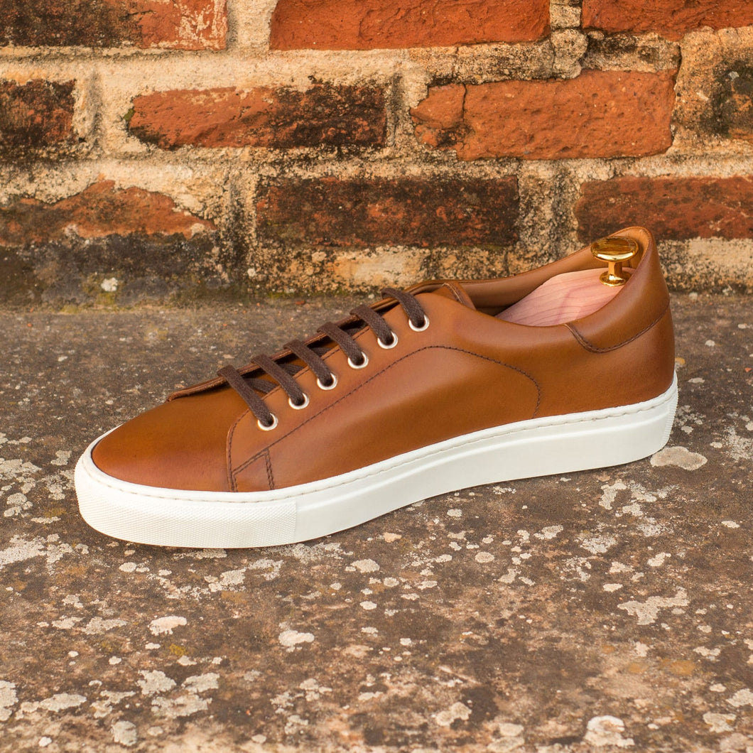 Tan Leather Low Top Lace Up Sneaker for Men. White Comfortable Cup Sole.