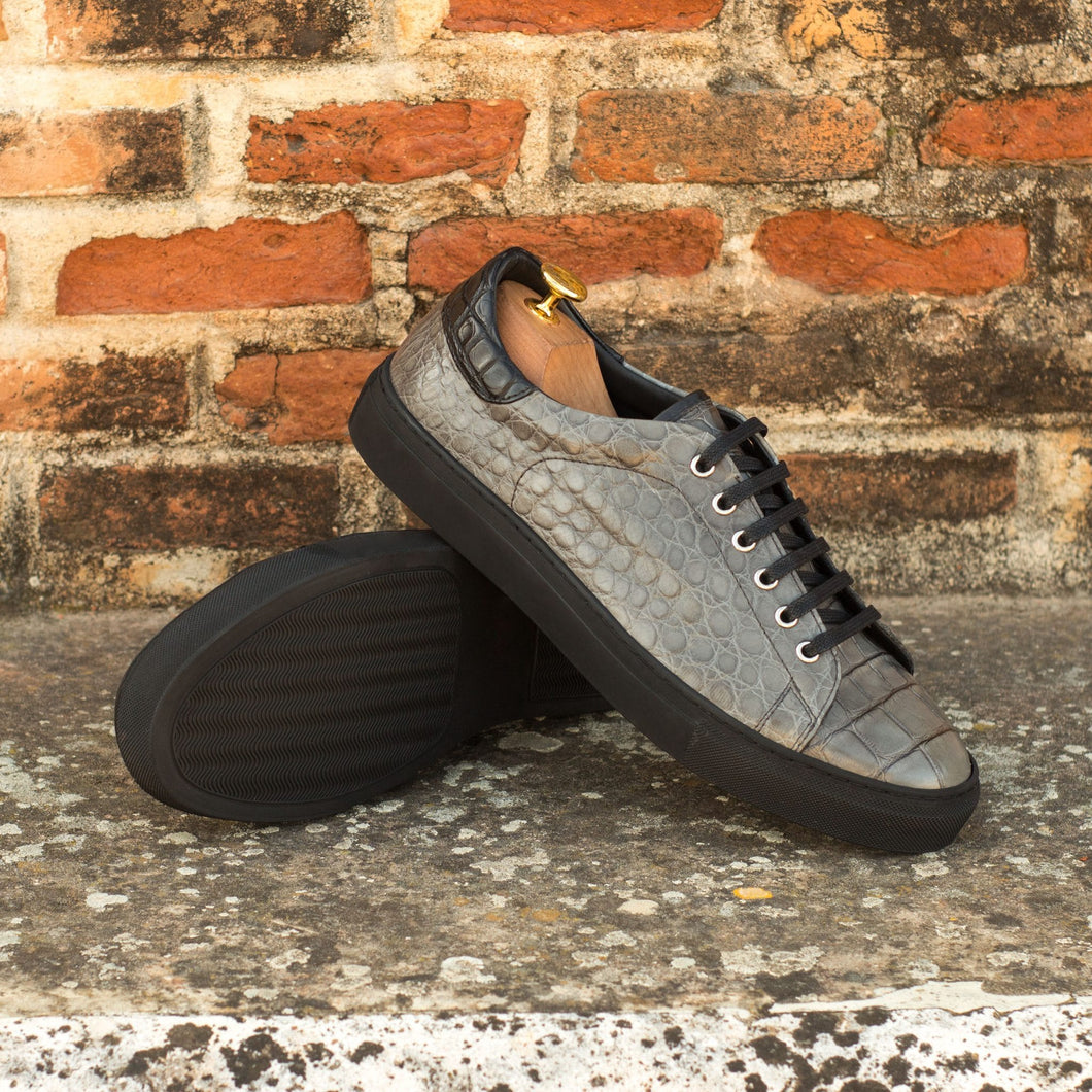 Grey Patina Finish Croco Print Leather Low Top Lace Up Sneaker for Men. Black Comfortable Cup Sole.
