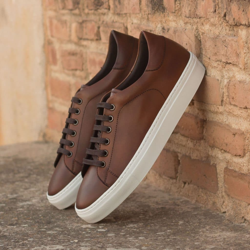 Dark Brown Leather Low Top Lace Up Sneaker for Men. White Comfortable Cup Sole.