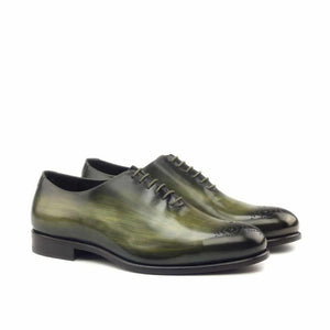 Olive Green Patina Finish Leather Formal Oxford Wholecut Brogue Lace Up Shoes for Men with Leather Sole. Goodyear Welted Construction Available.