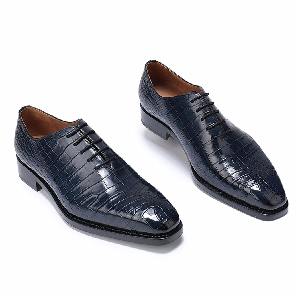 Navy Blue Croco Print Leather Formal Oxford Wholecut Lace Up Shoes for Men with Leather Sole. Goodyear Welted Construction Available.