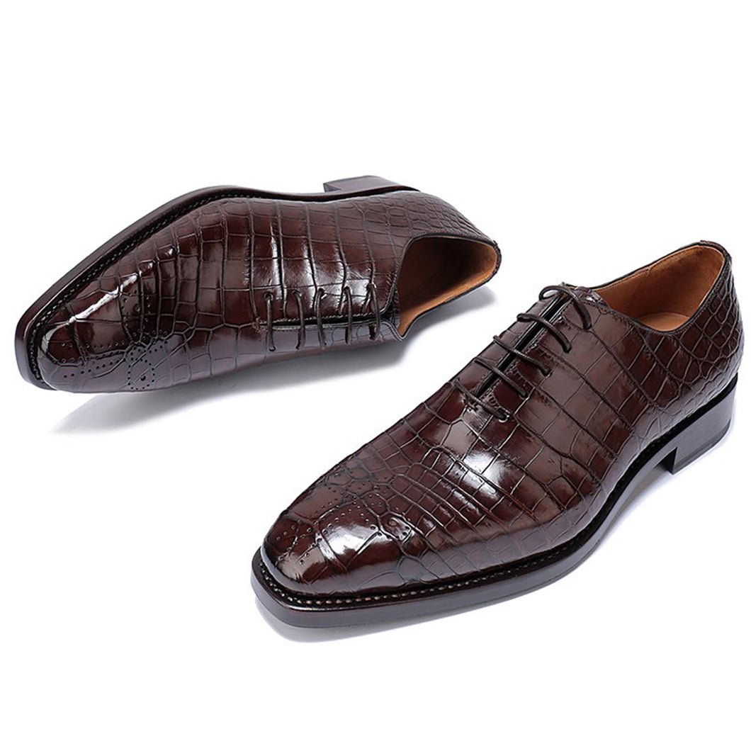 Dark Brown Croco Print Leather Formal Oxford Wholecut Lace Up Shoes for Men with Leather Sole. Goodyear Welted Construction Available.