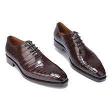 Load image into Gallery viewer, Dark Brown Croco Print Leather Formal Oxford Wholecut Lace Up Shoes for Men with Leather Sole. Goodyear Welted Construction Available.