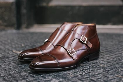 Brown Leather Formal Toe Cap Double Monk Strap Buckle Boot Shoes for Men with Leather Sole. Goodyear Welted Construction Available.