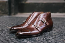 Load image into Gallery viewer, Brown Leather Formal Toe Cap Double Monk Strap Buckle Boot Shoes for Men with Leather Sole. Goodyear Welted Construction Available.