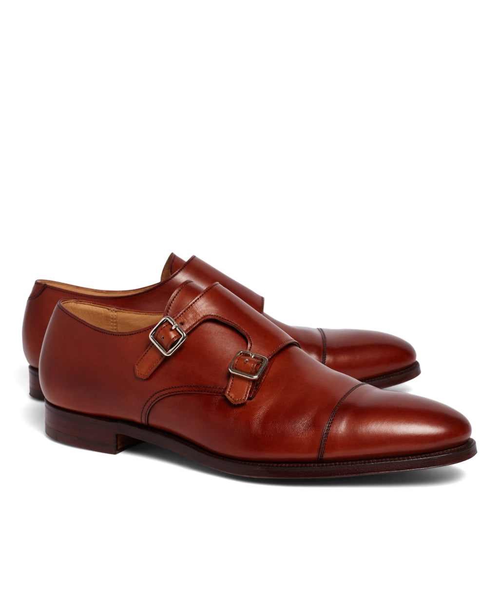 Tan Leather Formal Double Monk Strap Buckle Shoes for Men with Leather Sole. Goodyear Welted Construction Available.