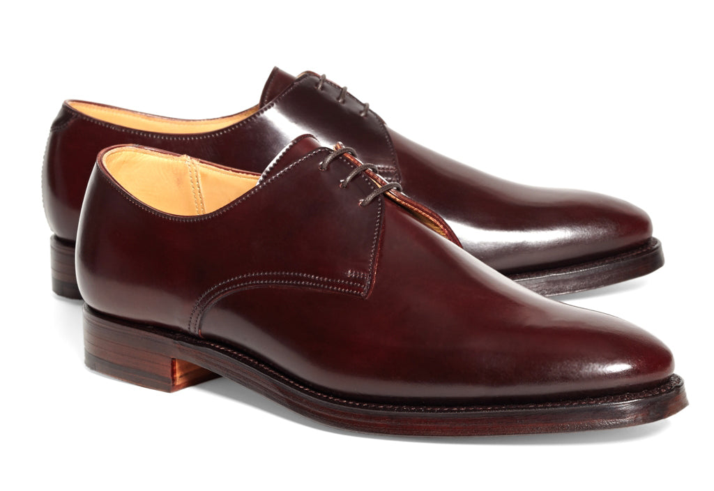 Burgundy Cherry Red Brown Leather Formal Derby Lace Up Shoes for Men with Leather Sole. Goodyear Welted Construction Available.
