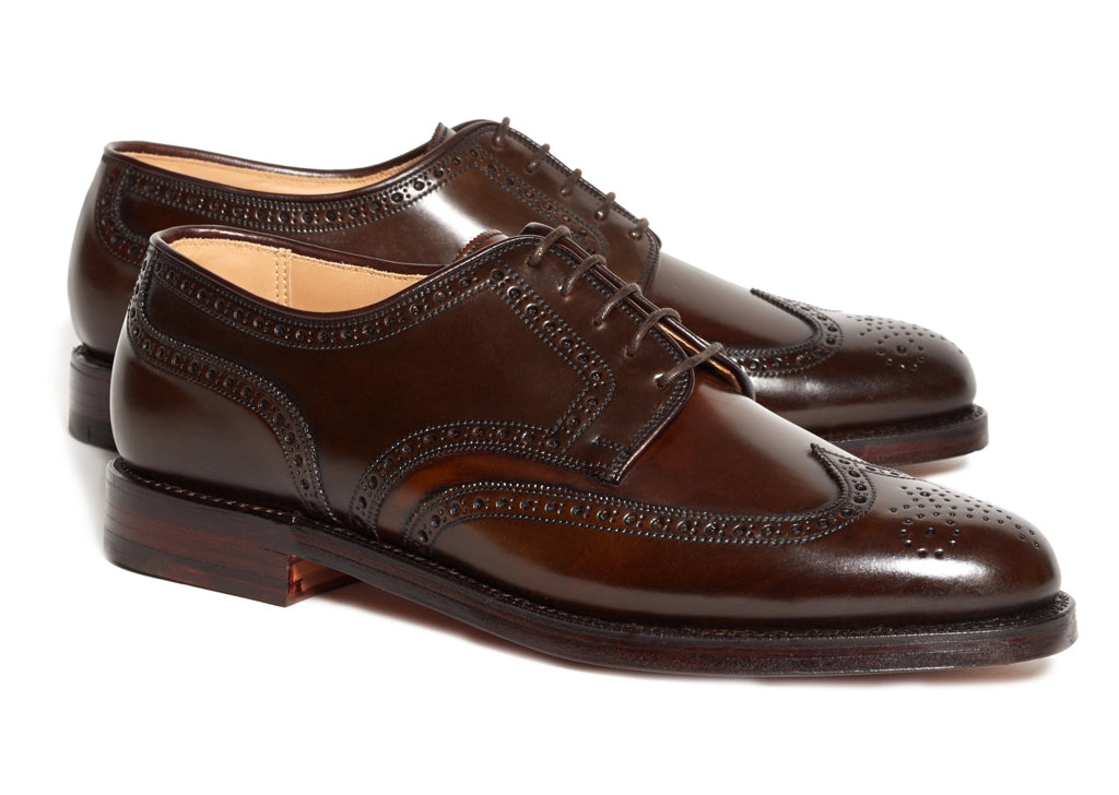 Dark Brown Burgundy Leather Formal Derby Wingtip Brogue Lace Up Shoes for Men with Leather Sole. Goodyear Welted Construction Available.