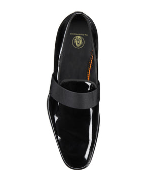 Black Patent Leather Formal Penny Loafer Slip On Shoes for Men with Leather Sole. Goodyear Welted Construction Available.