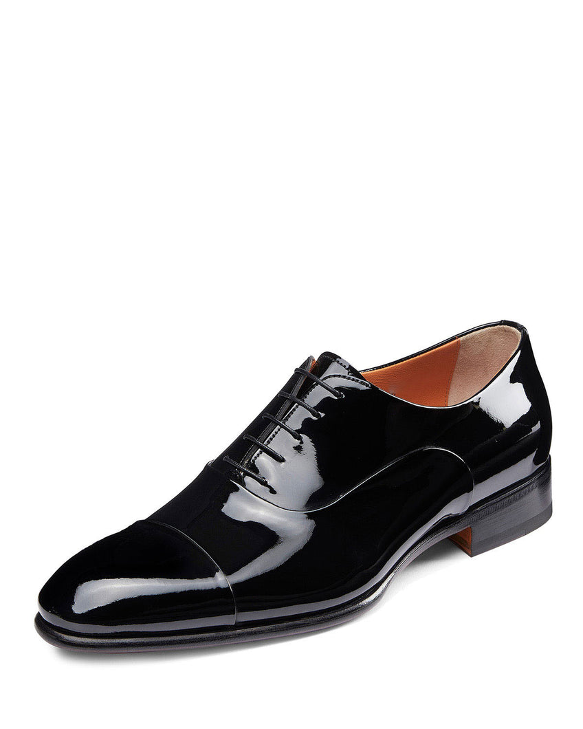Black Patent Leather Formal Toe Cap Oxford Lace Up Shoes for Men with Leather Sole. Goodyear Welted Construction Available.