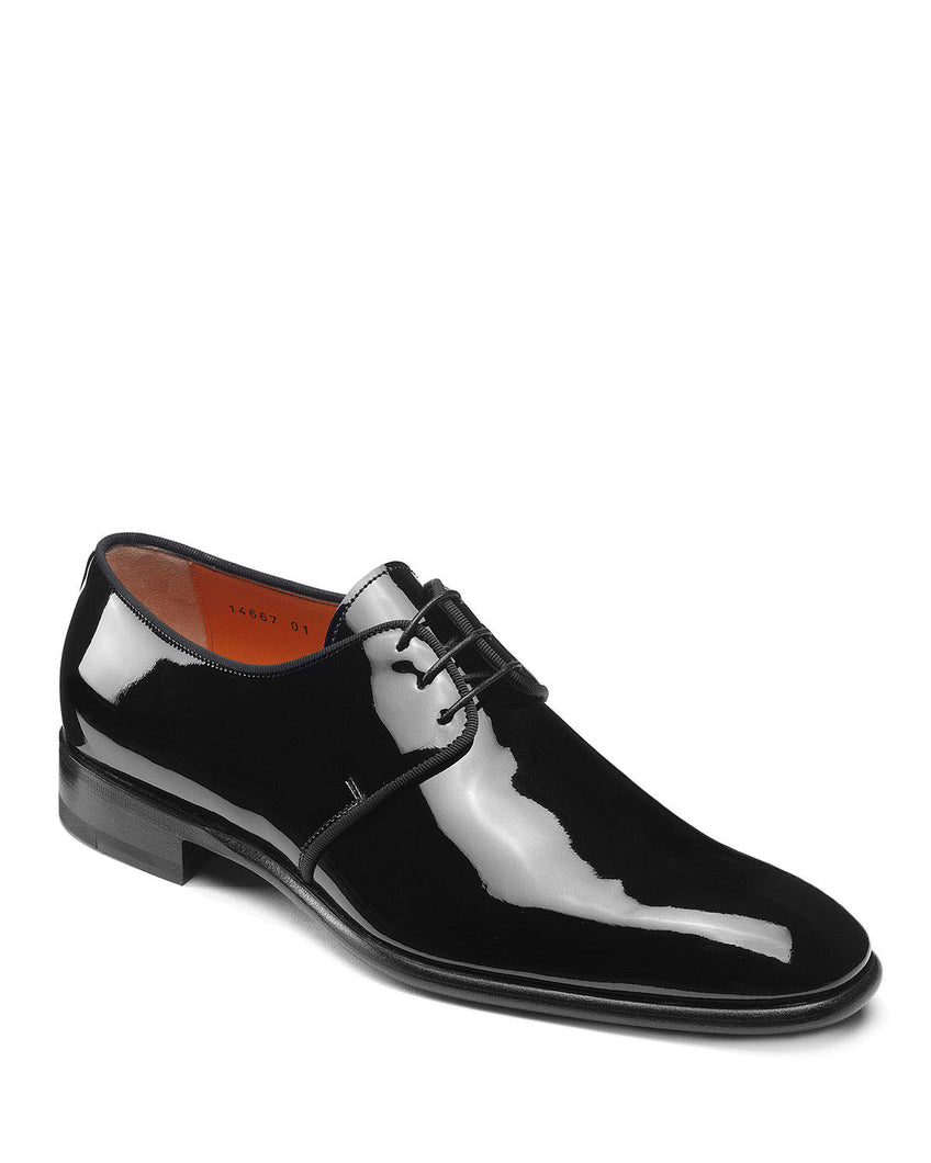 Black Patent Leather Formal Derby Lace Up Shoes for Men with Leather Sole. Goodyear Welted Construction Available.