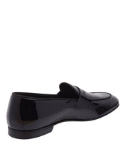 Load image into Gallery viewer, Black Patent Leather Formal Penny Loafer Slip On Shoes for Men with Leather Sole. Goodyear Welted Construction Available.