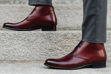 Load image into Gallery viewer, Burgundy Ox Blood Patina Finish Leather Formal Chukka Boot Lace Up Shoes for Men with Leather Sole. Goodyear Welted Construction Available.